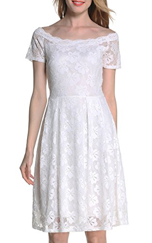 ARANEE Women's Vintage Floral Lace 2/3 Sleeve Cocktail Evening Party Dress