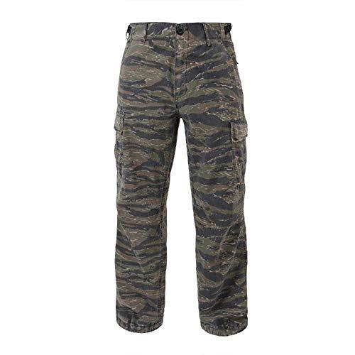 Vintage Vietnam Era Tiger - Fatigue Cargo Pants Camouflage 6 Pocket Vintage Vietnam Era Rip-Stop