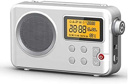 Radio NK-AB1904 FM/Am - Radio Portátil de Sobremesa, Pantalla LCD con Luz, Antena, Altavoz, 4 Pilas AA, Cable DC5V, Blanca (Función Radio Despertador) ...
