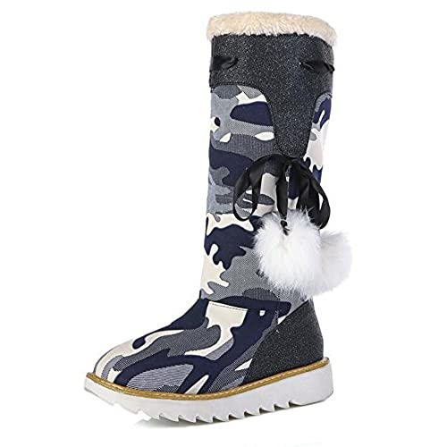 Women's Stylish Camouflage Canvas Fully Fur Lined Pull On Mid Calf Low Heel Platform Winter Snow Boots