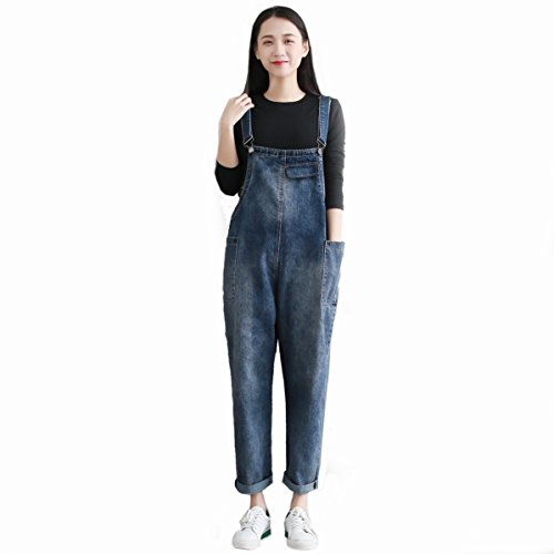 yiboolai Womens Summer Adjustable Shoulder Strap Bib Overall Baggy Denim Suspender Pants Jeans Jumpsuits with Pockets