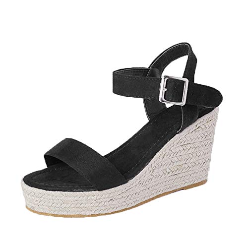 XMWEALTHY Women's Wedge Sandals Casual Sandals Shoes Summer Ankle Buckle Open Toe Wedges Heels Size 5.5 Black ()