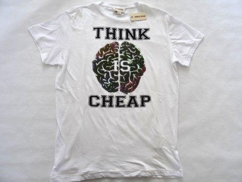 Diesel mens T-Eins-RS T-shirt top tee polo shirt white 100CQTN 100 (Think is cheap) (XL)