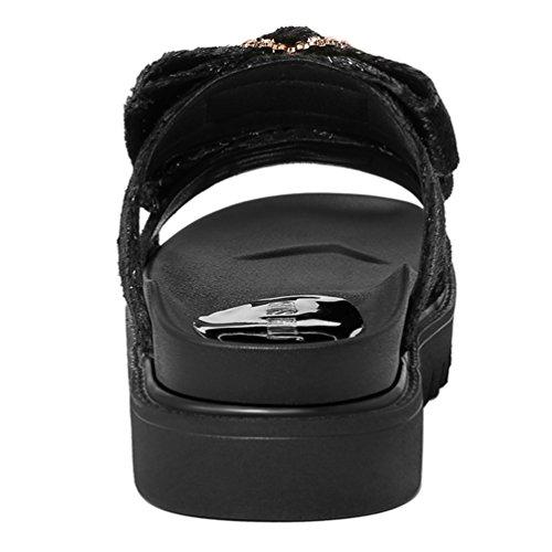 Confortable Élégant 40 De Sandale Mode Compensées Antidérapantes Femmes Plage Sandales Noir Tongs 34 wzR11F