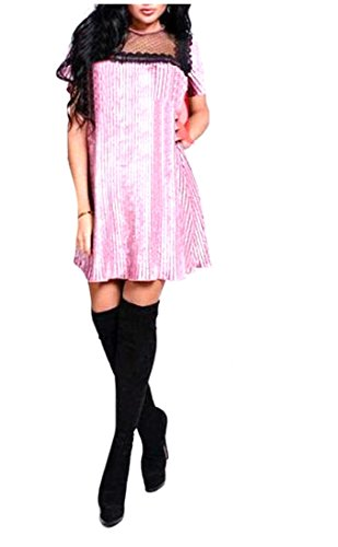 Dress Size Creative Sleeve Casual Pleated Short Plus Pink Women's Comfy Mini xqZnFw