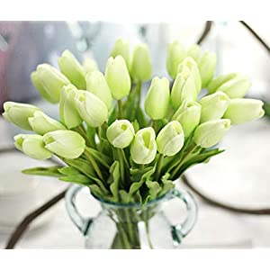 JOEJISN 30pcs Artificial Flowers Real Touch Green Tulips Holland PU Tulip Bouquet Latex Plants Party Office Home Kitchen Plants Decoration (Tender Green) 23