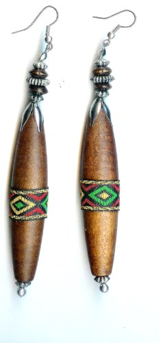 Rasta Handmade African Style Earrings - Long Wooden Earrings