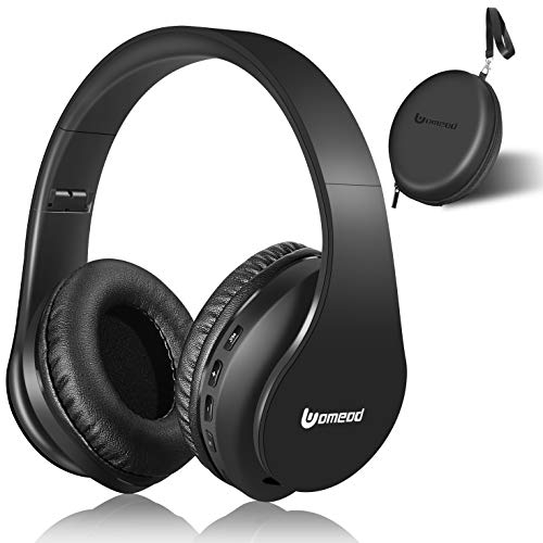 Bluetooth Headphones Wireless, Uomeod Over Ear Stereo Headset V5.0 with Microphone, Foldable & Lightweight, Support Tf Card MP3 and FM Radio for Cellphones Laptop TV(Black)