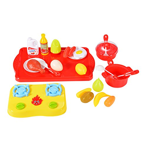 GlowSol 24-Piece Plastic Cutting Fruits and Vegetables Cooking Kit Kitchen Play Food Set