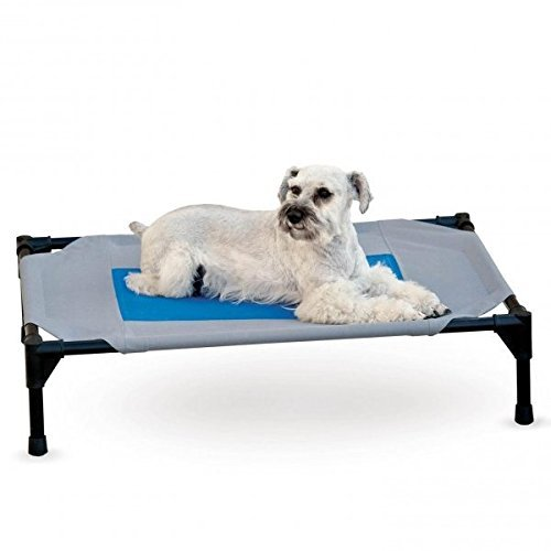 K&H Manufacturing Coolin' Gel Pet Cot Large Gray/Blue 30-Inch by 42-Inch by K&H Manufacturing -  8914415
