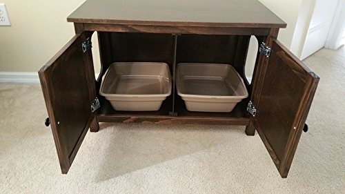 Double Odor Free Cat Litter Box Cabinet With Hinged Lid Made In Usa Wood No Assembly Needed