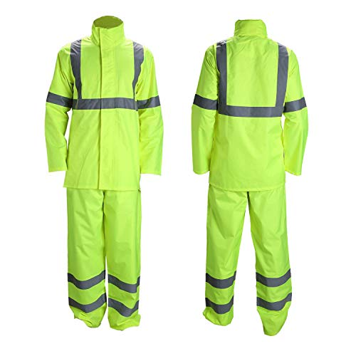 (Vendace Class 3 High Visibility Rain Suit with Collapsible Hood Lime Reflective Safety Jacket & Trouser (4XL/5XL Yellow) )