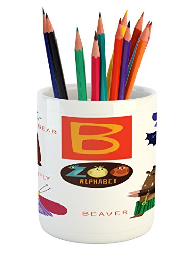 Lunarable ABC Kids Pencil Pen Holder, Letter B with Bat Butterfly Bear and Beaver Learn to Read Going to School Theme, Printed Ceramic Pencil Pen Holder for Desk Office Accessory, Multicolor