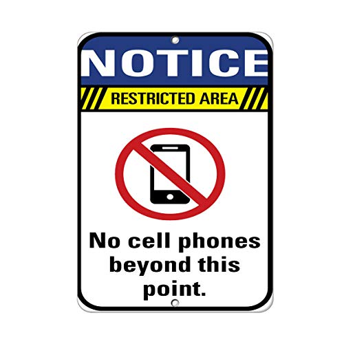 Notice Restricted Area No Cell Phones Beyond This Point. Vinyl Sticker Decal 8