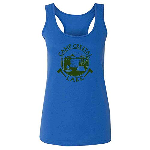 Pop Threads Camp Crystal Lake Counselor Shirt Costume Staff Heather Royal 2XL Womens Tank -