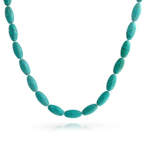 Bling Jewelry Hand Knotted Oval 8MM Compressed Turquoise Bead Strand Necklace for Women Silver Plated Clasp 18 Inch