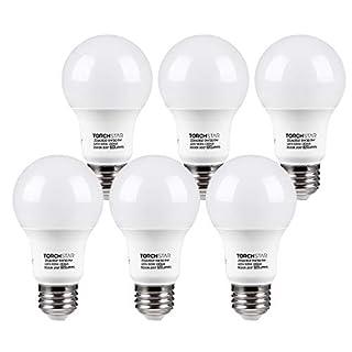 TORCHSTAR A19 LED Light Bulb, UL Listed 9W (60W Equivalent), E26 Standard Base 820lm, 3000K Warm White for Desk Lamp, Floor Lamp, Ceiling Fan, 3 Years Warranty, Pack of 6