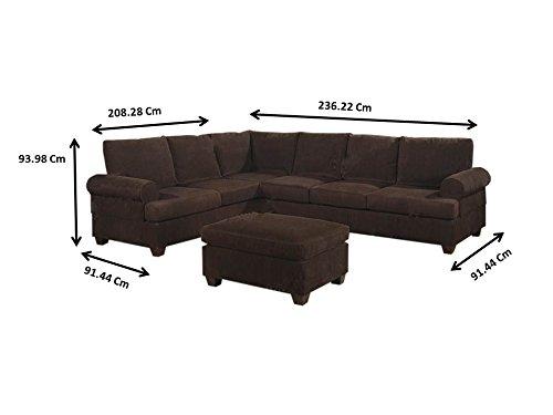 Amazon.com: Poundex Bobkona Dyson Corduroy Sectional Sofa in ...