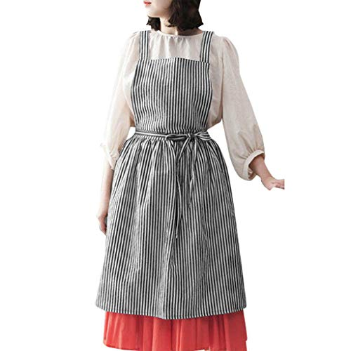 - Pitauce Pockets Bib Apron for Men Women Cooking Restaurant Bistro Craft Garden Striped Half Aprons Black