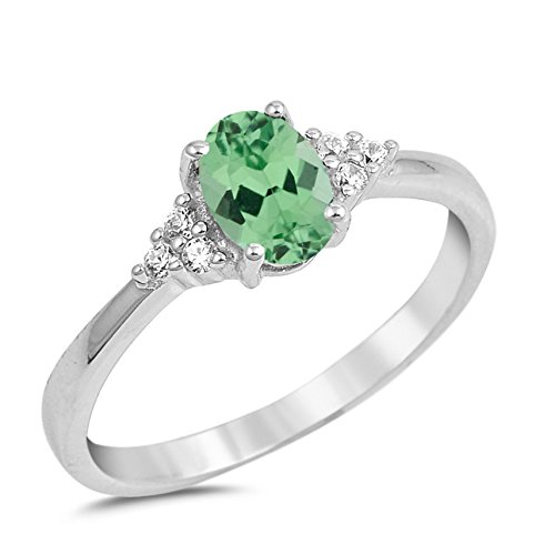 (925 Sterling Silver Faceted Natural Genuine Green Emerald Oval Ring Size 6)