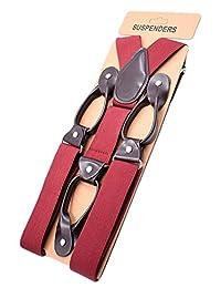 MENDENG Men's Leather End Tuxedo Suspenders Y Back Button Pant Braces Elastic