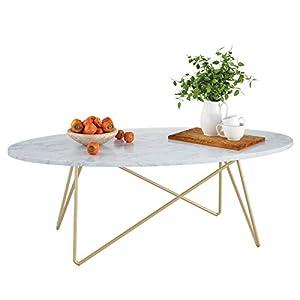 Homfa Table Basse Table d'Appoint Table de Salon Table de Café en Bois et Métal 120×60×41cm Ovale
