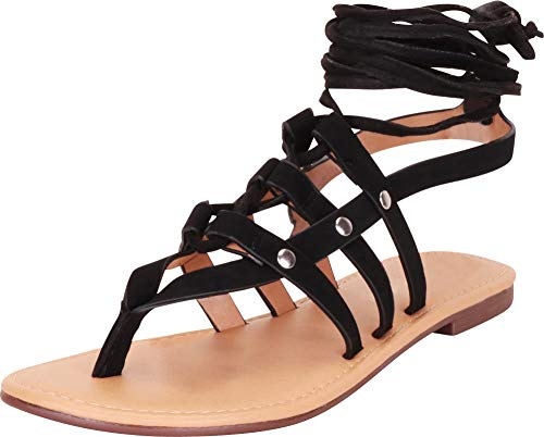Cambridge Select Women's Thong Toe Strappy Crisscross Ankle Tie Flat Gladiator Sandal,7 B(M) US,Black NBPU
