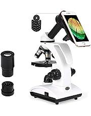 TELMU Microscoop 40x Tot 1000x Geheel Metalen Oculair (WF10X / 25X) Monoculaire Laboratoriumsamenstellingsmicroscopen Twee Lampen Met 10 Biologische Segmenten Vijf Monsters