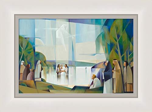 Jorge Cocco Baptism of Christ 13x11 Framed Giclee Canvas- New Testament Art