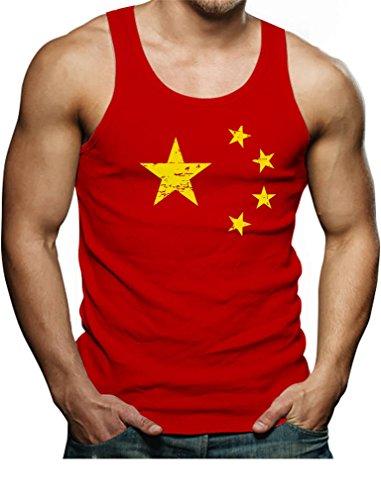 TeeStars Vintage China Flag Retro Chinese Style Singlet Small - Styles Singlet