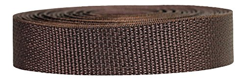 Strapworks Lightweight Polypropylene Webbing - Poly Strapping for Outdoor DIY Gear Repair, Pet Collars, Crafts - 1 Inch x 50 Yards - Brown