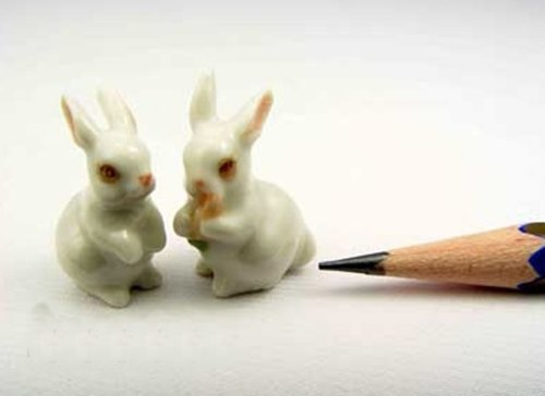 3 D Ceramic Toy White Rabbit Dollhouse Miniatures Free Ship by ChangThai Design