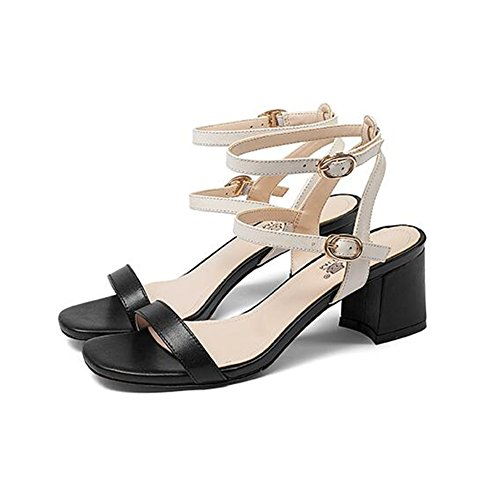 Fashion EU36 Chunky CJC Leather heeled Color Women Ladies A B Size Peep High toe UK4 Open Sandals toe vtdZqwpwx