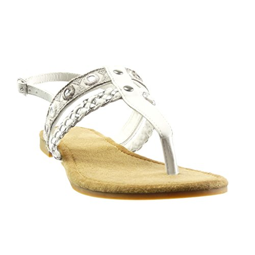 Angkorly - Scarpe da Moda sandali infradito donna ricamo intrecciato multi-briglia Tacco a blocco 1.5 CM - Bianco