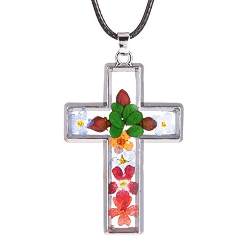 FM FM42 Multi-Colored Pressed Flower Cross Pendant Necklace with 19