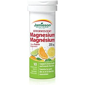 Jamieson Effervescent Magnesium 200 mg, 10 Citrus Punch Tablets