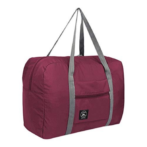 (Large Capacity Travel Bag For Men Women Luggage Bag Travel Carry on Storage Bag Travel Duffle Bag (Wine))