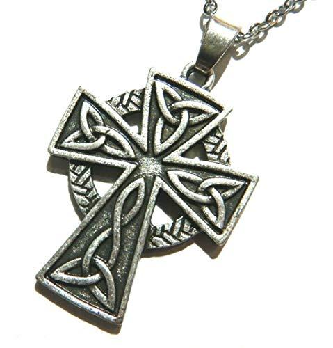 (Celtic Knot Cross Catholic Crucifix Pewter Pendant on 18