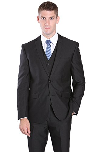 3 Piece Modern Slim Cut Suit for Men - Heather Black, 42 Long