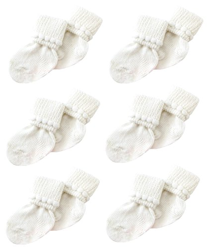 White Newborn Baby Socks by Nurses Choice - Includes 6 Pairs of Unisex Cotton Socks - Newborn Baby Socks