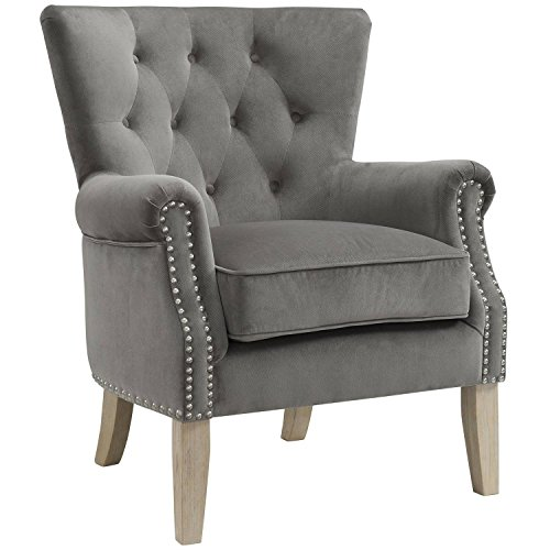 beautiful Upholstered with a Soft Twill Fabric Rolled Arm Accent Chair, Gray from Better Homes & Gardens
