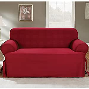 Amazon Com Sure Fit Duck Solid T Cushion Loveseat