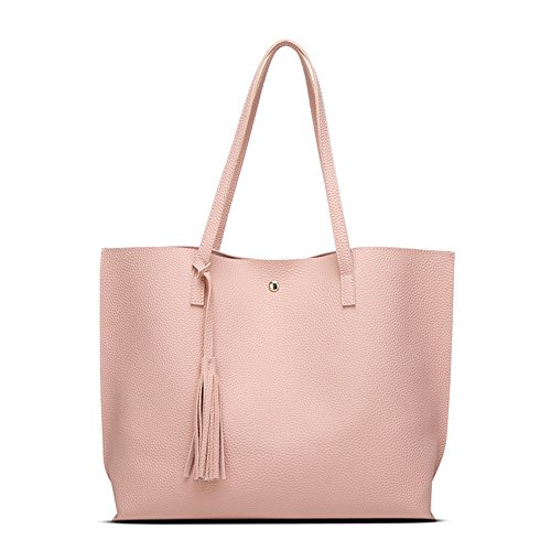 Pink Leather Tote Bag (Promini Women Girls Tassels Leather Bag Fashion Top Handle Satchel Handbags Shoulder Bag Top Purse Messenger Tote Bag)