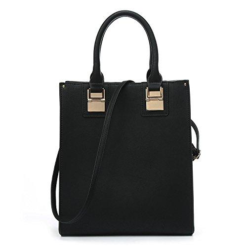 Leather Shoulder Bag Handbag Tote Purse Crossbody Genuine Work Bag For Women (black)