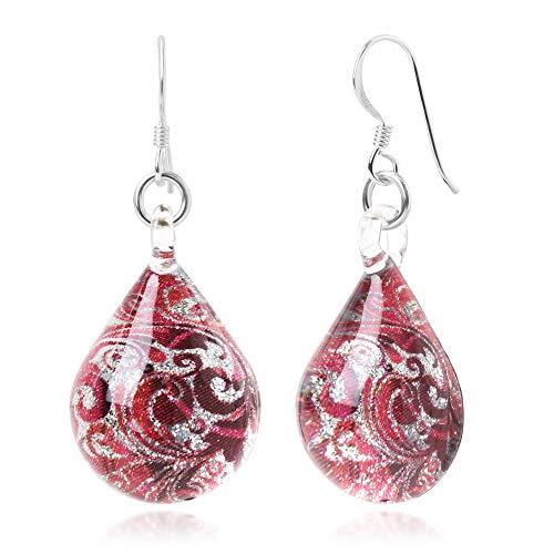 Sterling Silver Hand Blown Glass Red & Silver Abstract Flower Art Teardrop Dangle Earrings