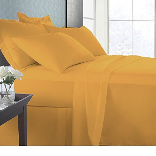 "(Linen Sheets Luxury Ultra-Soft 4 Pc Natural Bamboo cotton bed 600 TC sheet set with 19"" Deep Pocket Durable Breathable Long Staple Eco-Friendly Italian Finish by (Cal-King, Gold))"