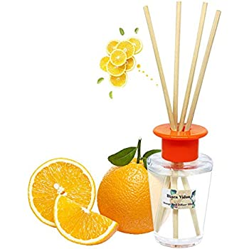 binca vidou Orange Reed Diffuser Set, Scented Oil Reed Diffusers with 6 Natural Rattan Reeds for Home, Bathroom, Office Organic Air Freshener 100ml/3.4oz