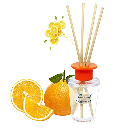 - binca vidou Orange Reed Diffuser Set, Scented Oil Reed Diffusers with 6 Natural Rattan Reeds for Home, Bathroom, Office Organic Air Freshener 100ml/3.4oz