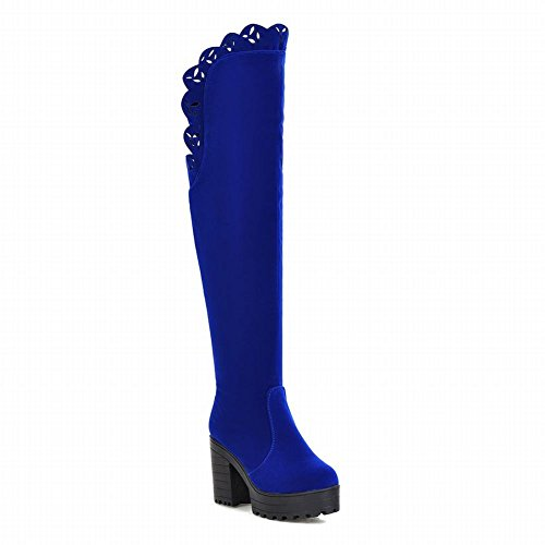 Latasa Damesmode Blok Hoge Hak Platform Knielange Laarzen Blauw