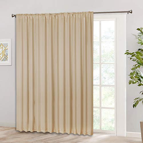 (RYB HOME Sliding Door Curtain Drapery, Rod Pocket & Back Tab Top, Room Darkening Shade for Bedroom/Kitchen/Living Room, Outdoor Indoor Privacy Window Curtains 100 x 84 inch, Cream Beige)